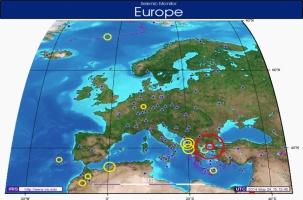 Сильное землетрясение в Эгейском море